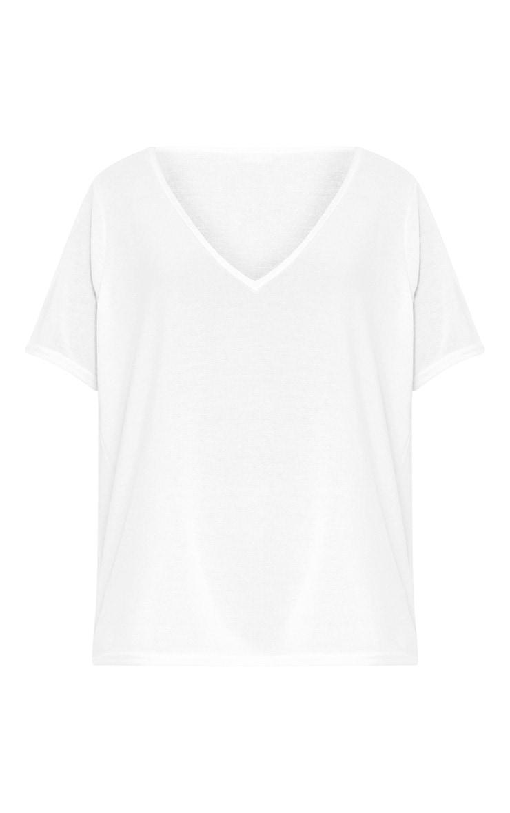 White Melange V Neck T Shirt 3