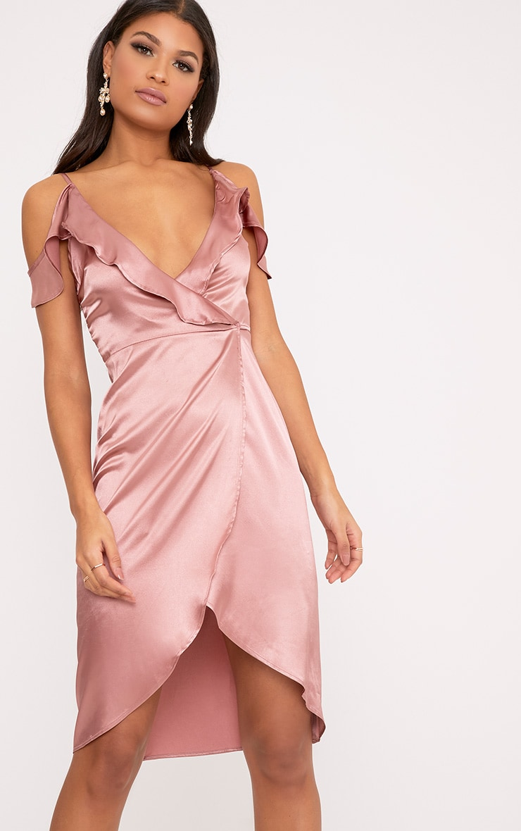 Quinn Rose Satin Frill Cold Shoulder Midi Dress 1