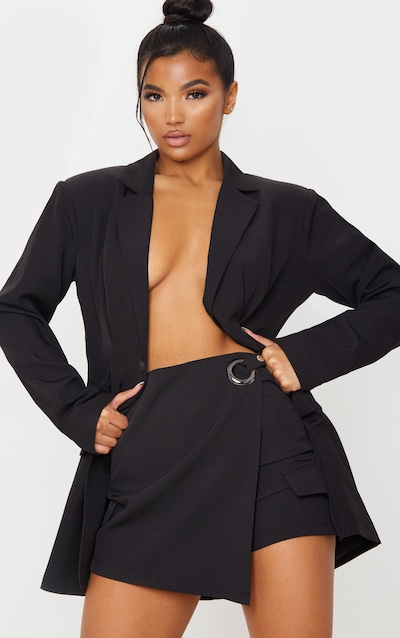 Black Ring Belted Wrap Front Skort