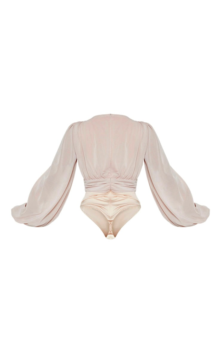 Nude Mesh Ruched Waistband Bodysuit 5