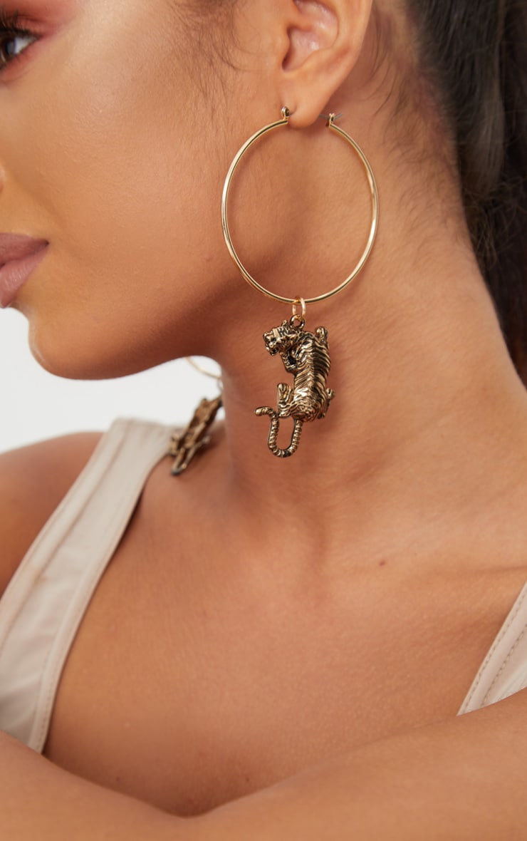 Gold Tiger Thin Hoop Earrings 1