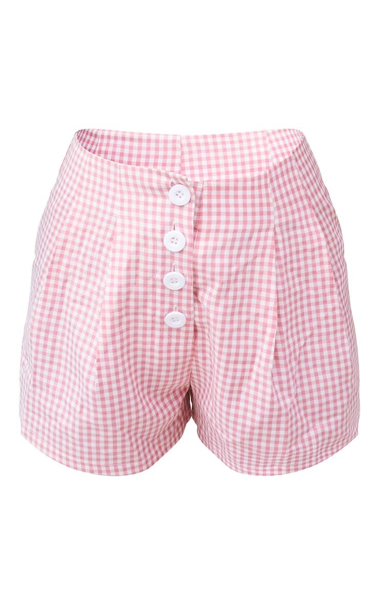 Peach Gingham Button Front High Waist Short 6