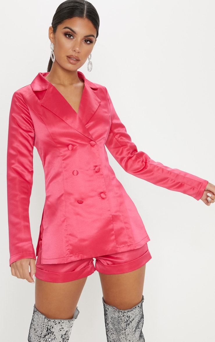 Hot Pink Double Breasted Satin Jacket 1