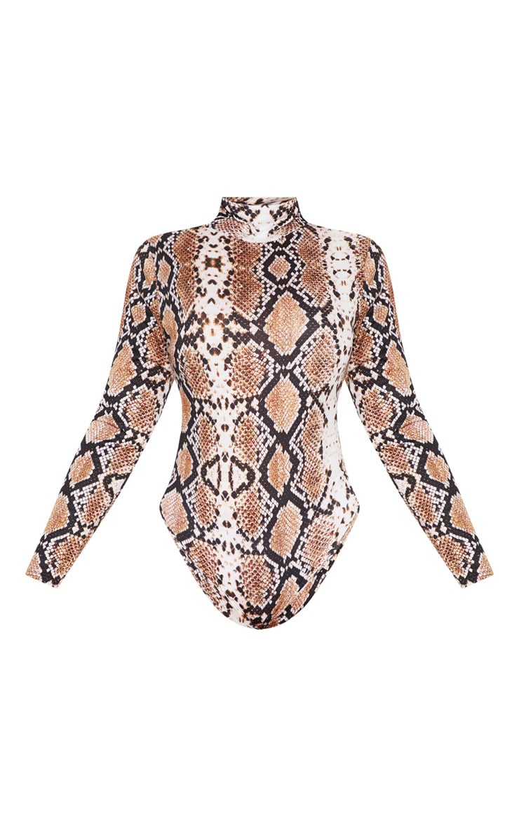 Plus Taupe Snake Print Roll Neck Long Sleeve Bodysuit 3