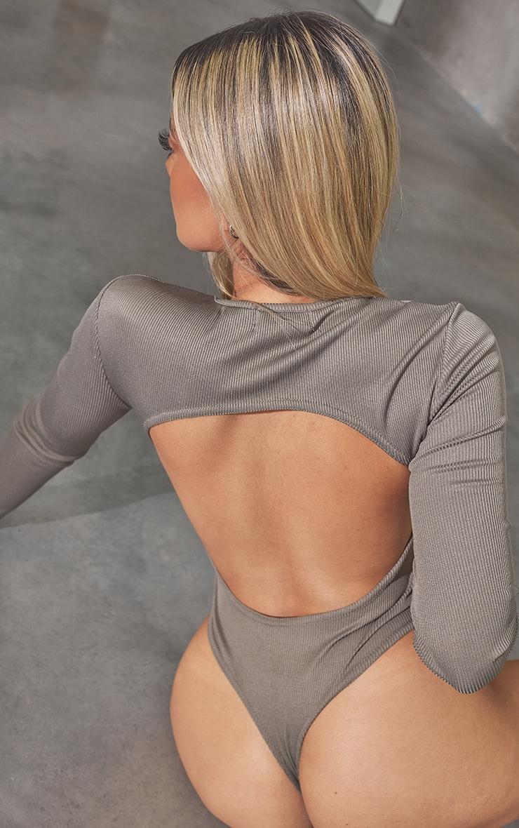 RENEW Petite Light Khaki RibBackless Bodysuit 4