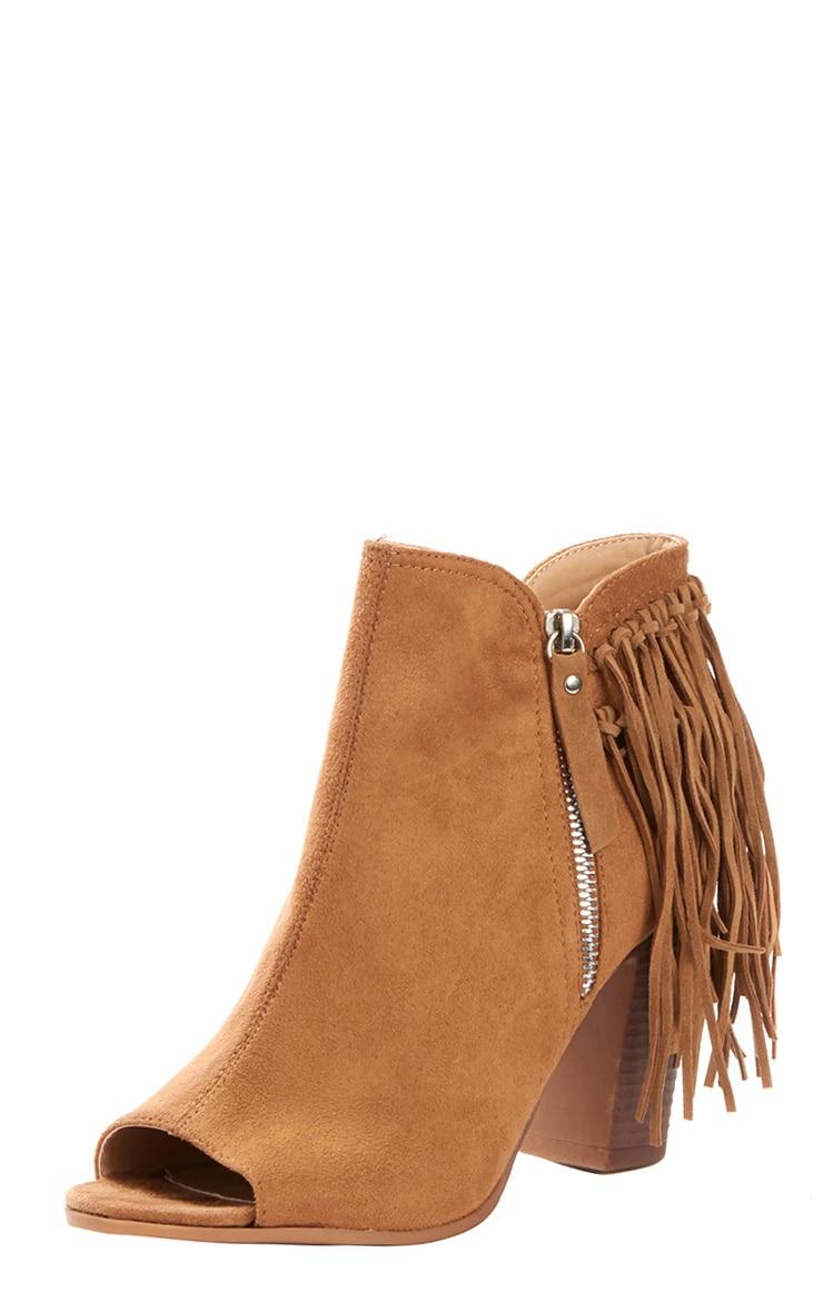 Cameron Camel Suede Fringe Heeled Boots 4
