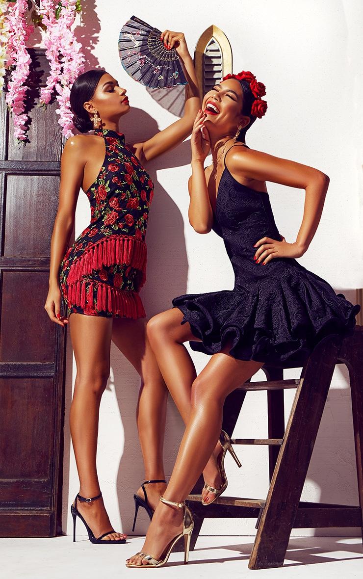 Black Floral Embroidered Tassel Trim Halterneck Bodycon Dress 7