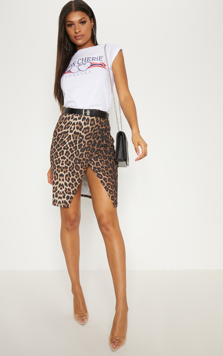Leopard Print Crepe Printed Wrap Skirt