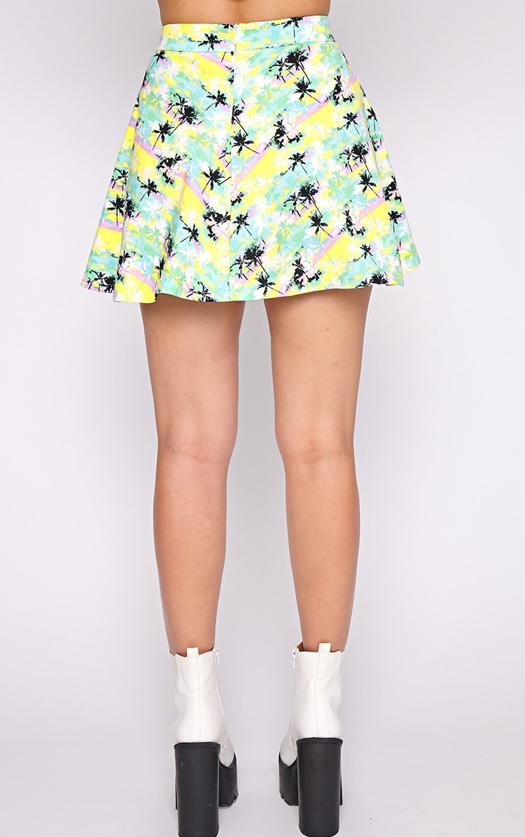 Aniya Palm Tree Print Skater Skirt 4