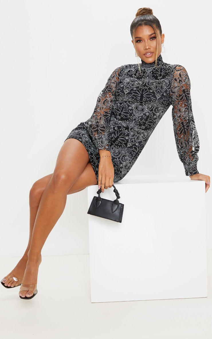 Black Flocked Lace Long Sleeve Bodycon Dress 3