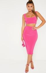 Hot Pink Slinky Round Neck Sleeveless Crop Top 3