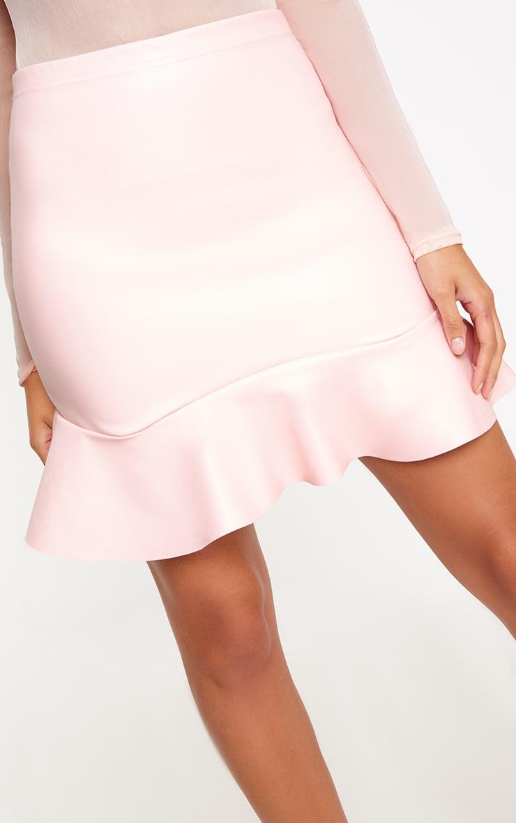 Pink PU Frill Hem Mini Skirt 5