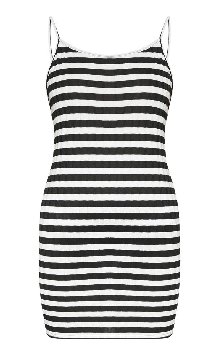 Monochrome Knitted striped Rib Dress 3