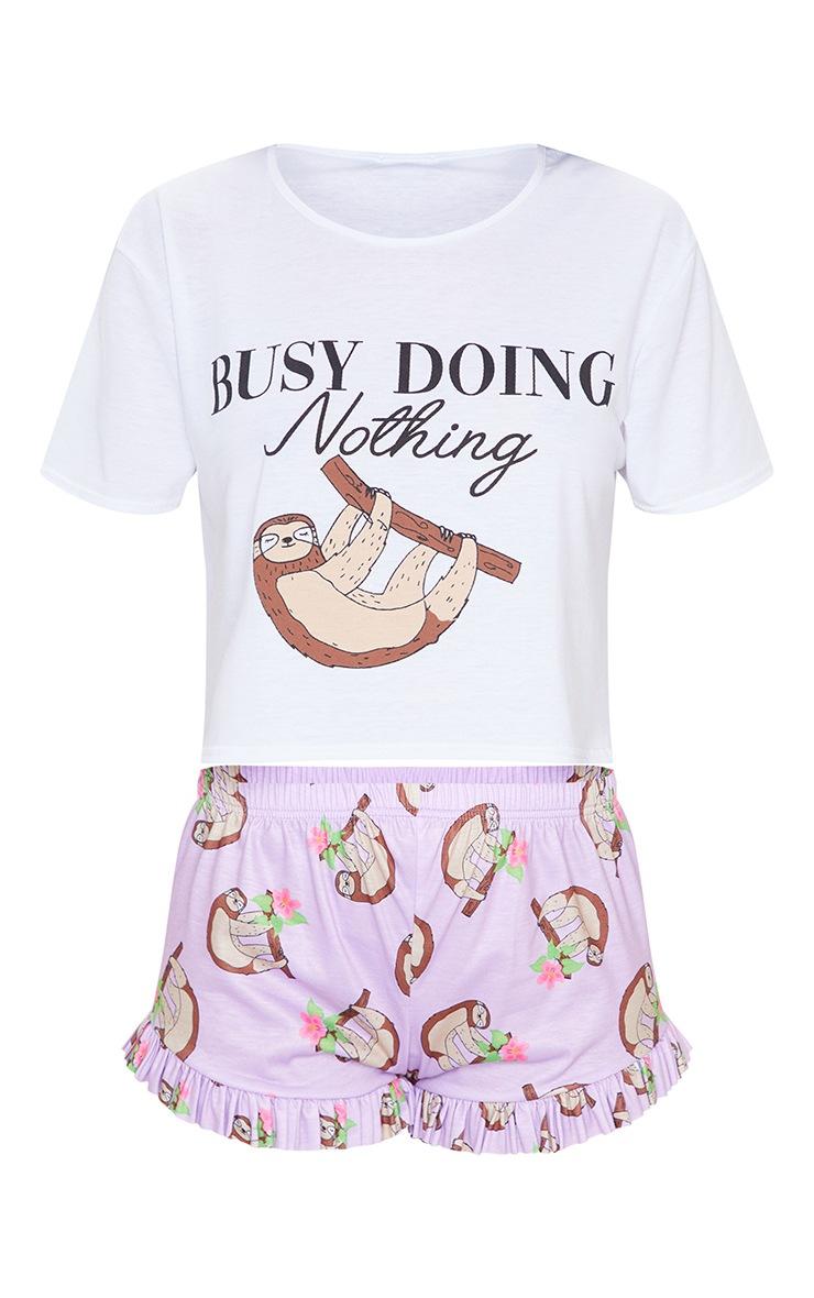 Lilac Busy Doing Nothing Sloth Print Frill Short PJ Set 5