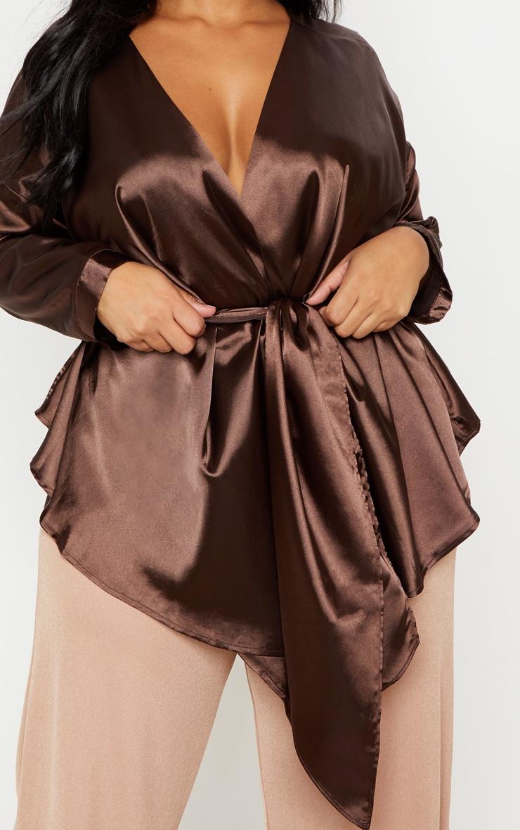 Plus Chocolate Brown Satin Tie Waist Blouse 5
