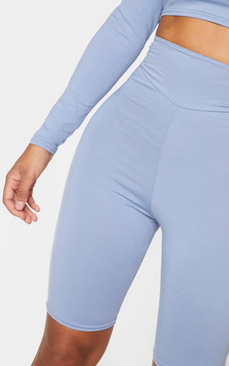 Shape Dusty Blue Cotton Panelled Detail Bike Shorts 4