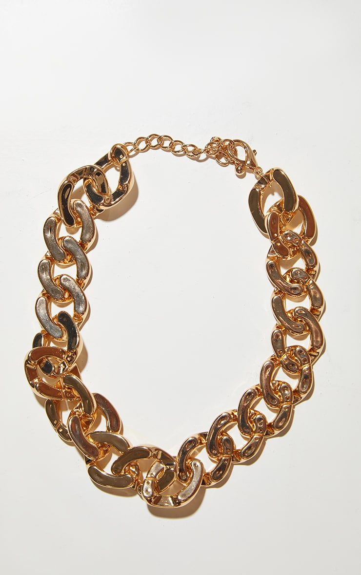 Gold Flat Chunky Curb Chain Necklace 4