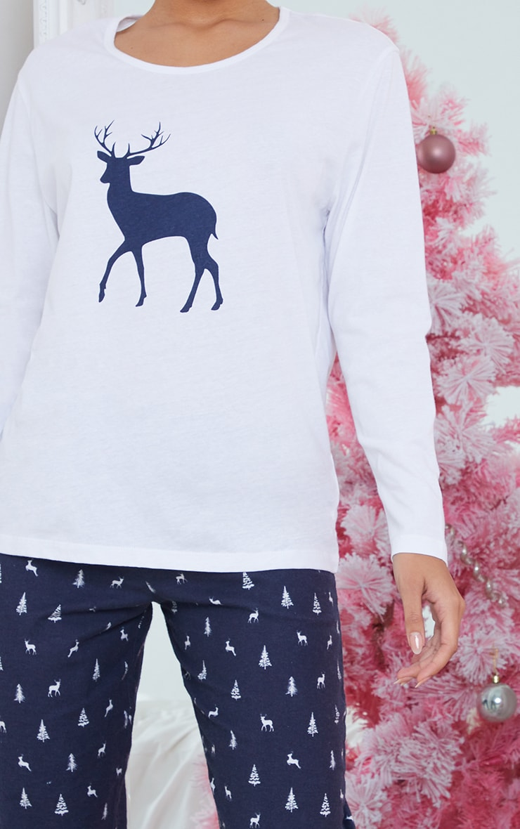 Blue Reindeer Printed Long Sleeve PJ Set 4