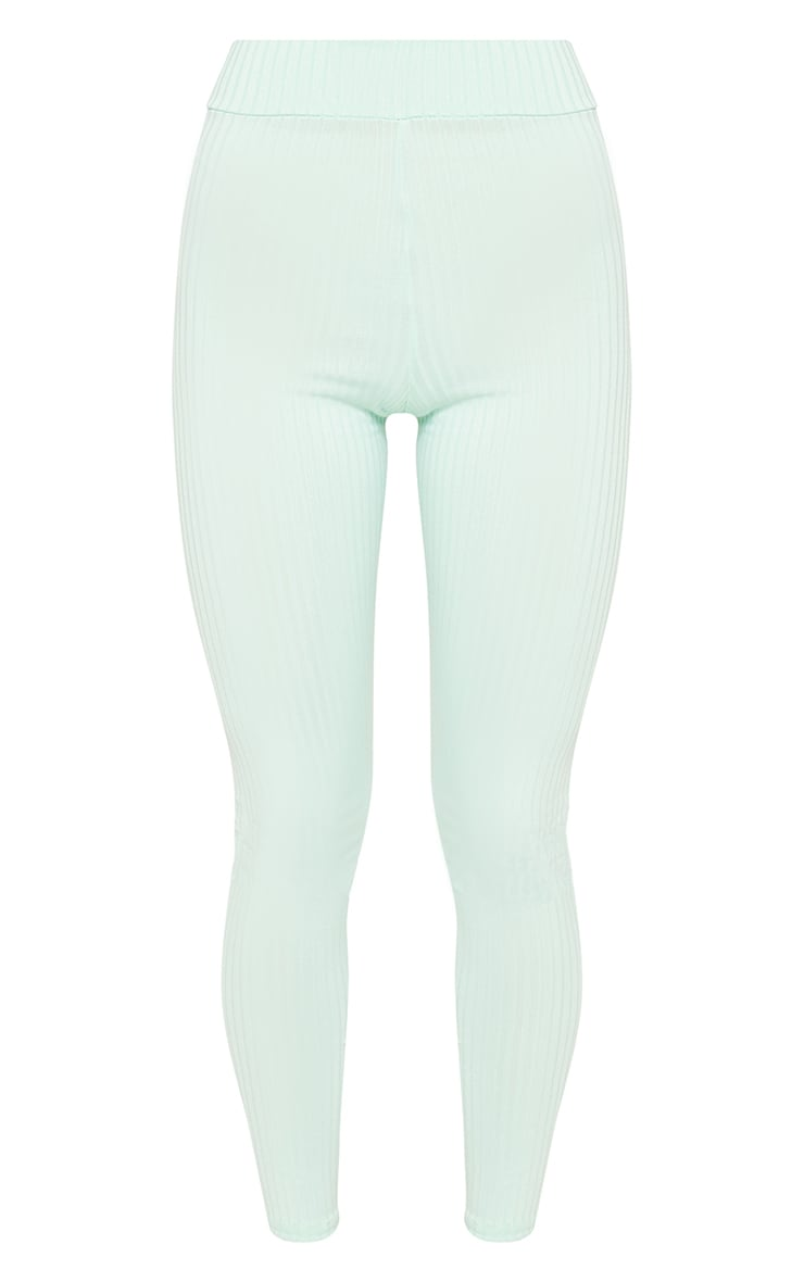 Mint Ribbed High Waisted Legging  3