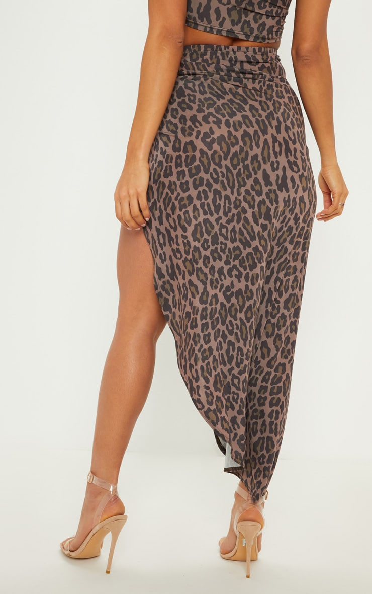 Brown Leopard Print Ruched Side Split Maxi Skirt 4