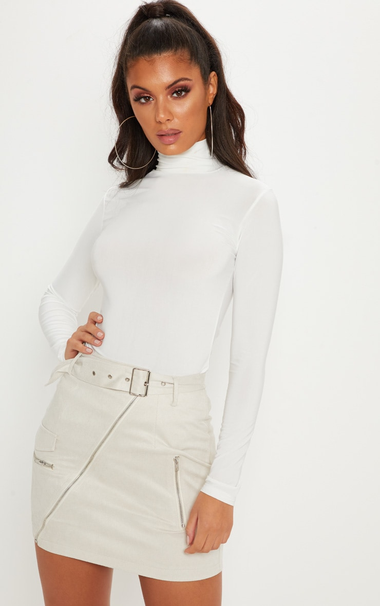 Cream Faux Suede Belted Biker Mini Skirt 5