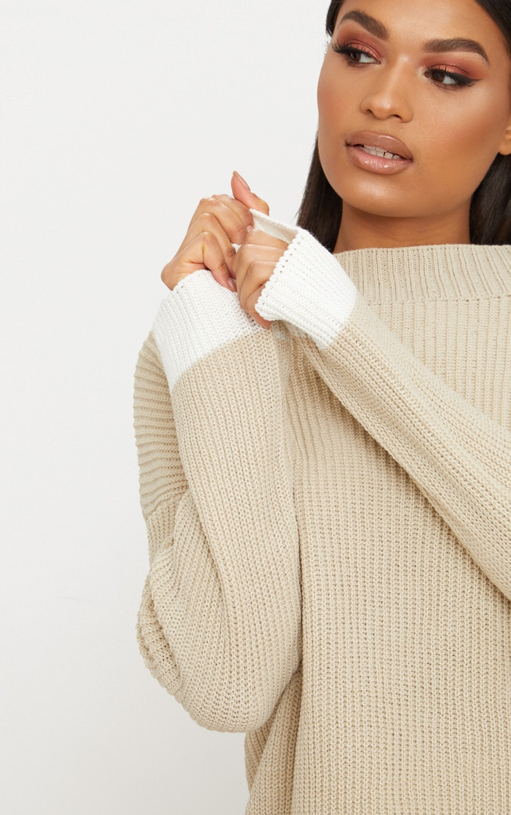 Stone Oversized Contrast Jumper 5