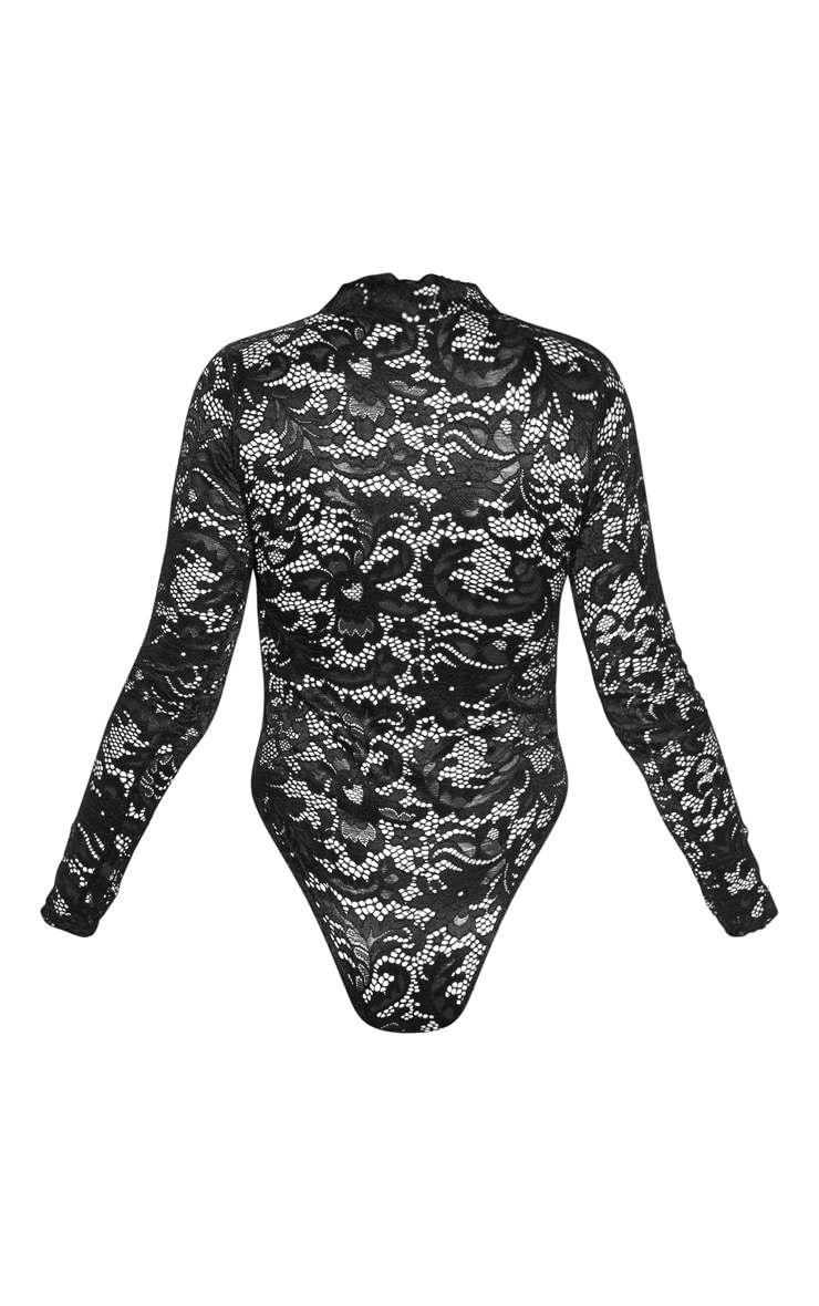 Black Sheer Lace Scallop Detail Bodysuit 4