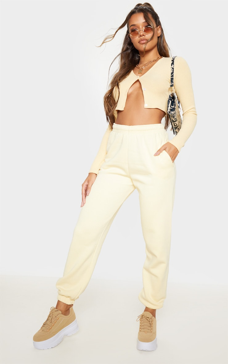 Pale Yellow Casual Joggers 1