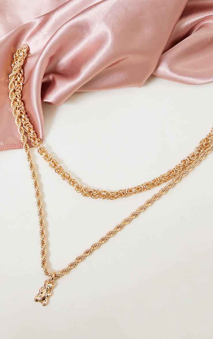Gold Double Rope Gold Teddy Necklace 3