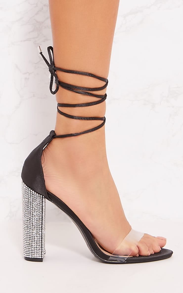 Black Diamante Heel Ghillie Sandal 3