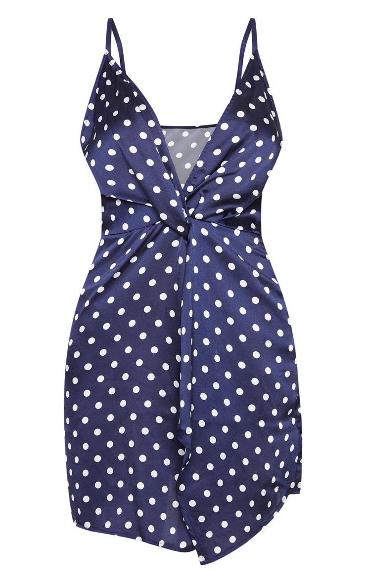 Navy Satin Polka Dot Twist Front Shift Dress 3