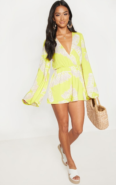 1477f86b916 Petite Lime Printed Flare Sleeve Plunge Playsuit PrettyLittleThing Sticker