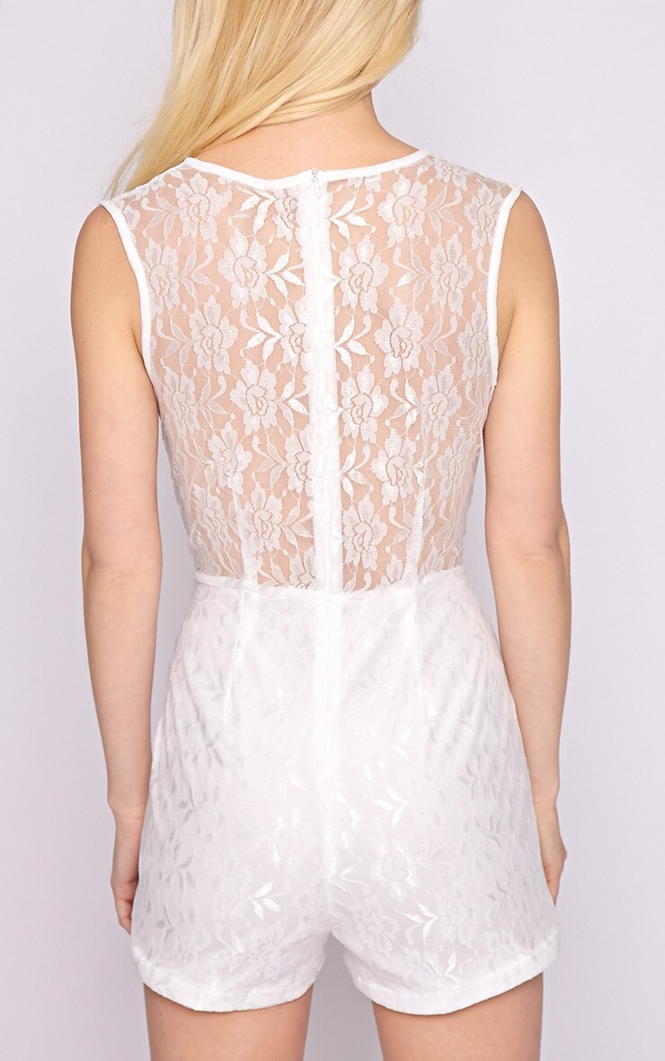 Aubree White Lace Playsuit  2