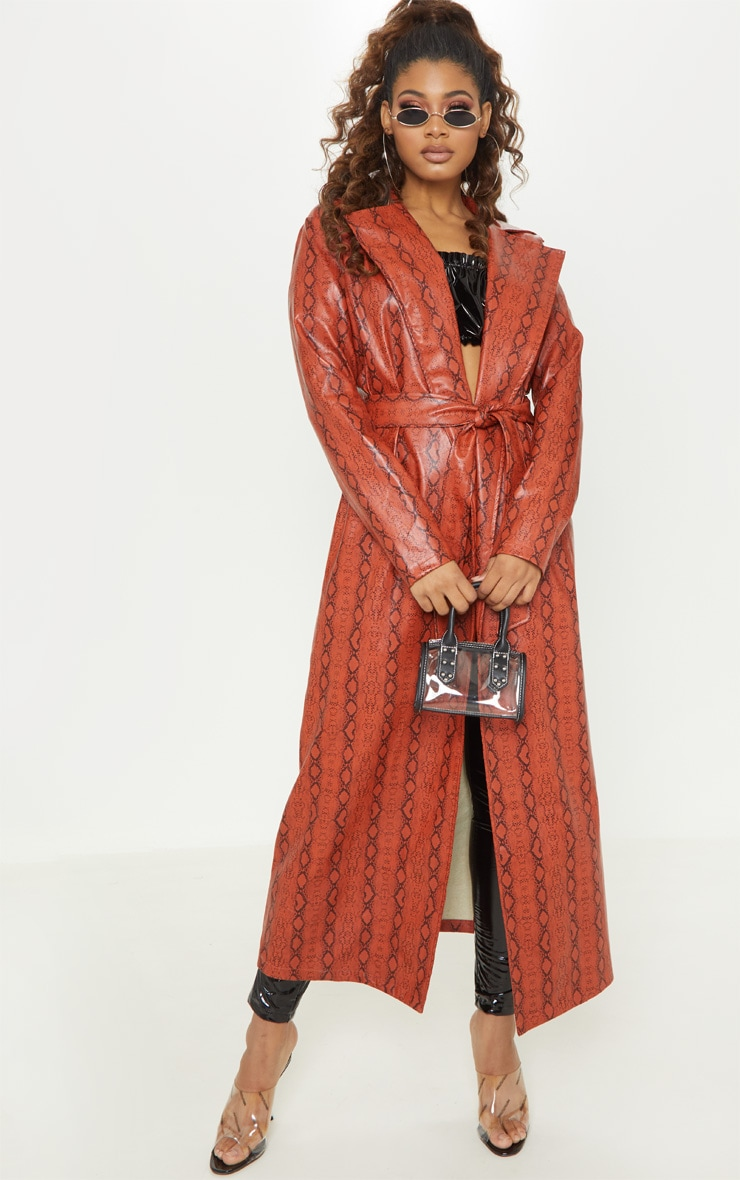 Tall Rust PU Snake Print Belted Trench Coat 3