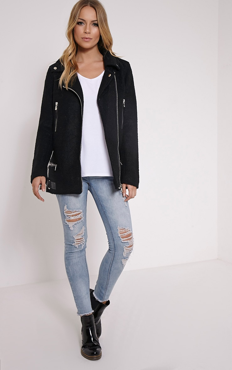 Keeva Black Faux Wool Biker Style Jacket 3