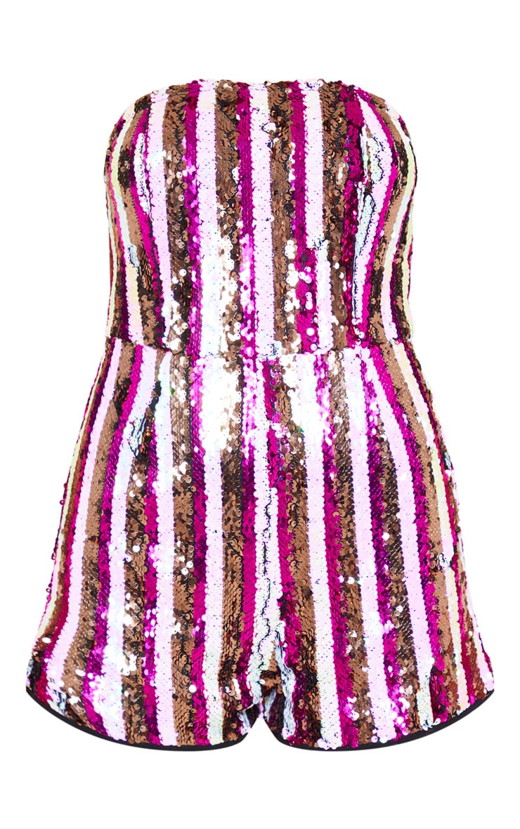 Pink Bandeau Sequin Stripe Playsuit 4