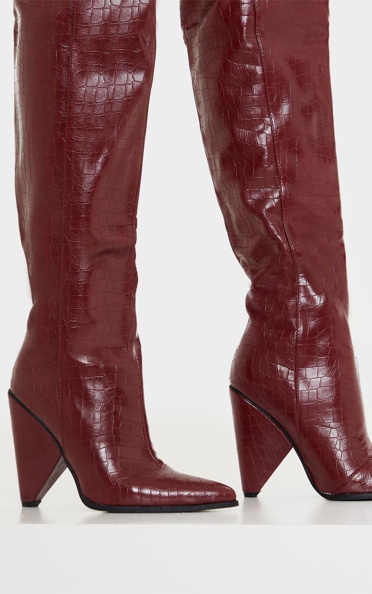 Burgundy Thigh High Cone Heel Boot 4