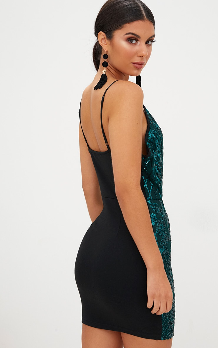 Emerald Green Strappy Sequin Dress 2
