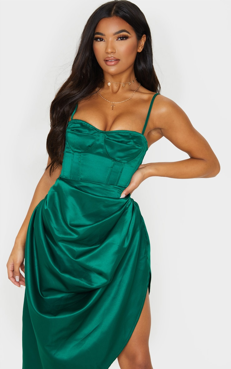 Emerald Green Satin Woven Cup Detail Strappy Corset image 1