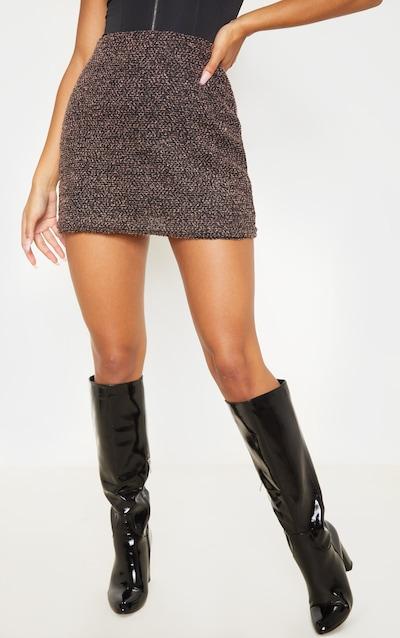 Brown Boucle A Line Mini Skirt