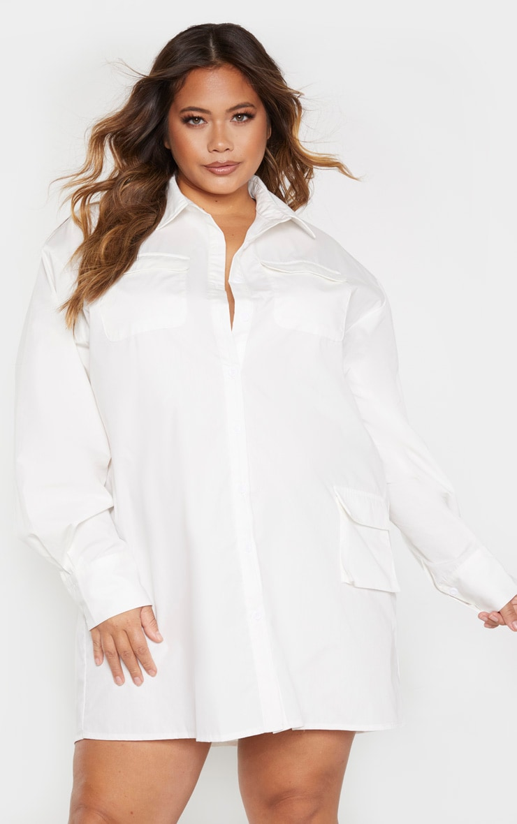 Plus White Pocket Detail Long Sleeve Shirt Dress 1