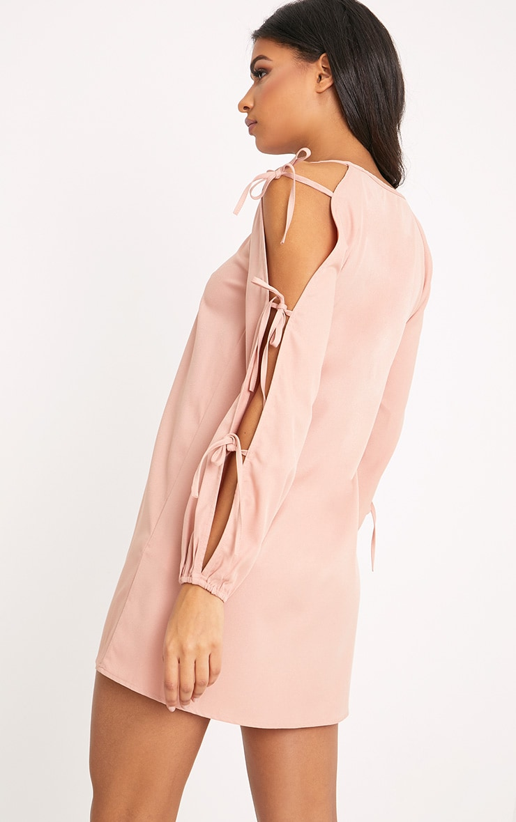 Ryna Dusty Pink Cold Shoulder Tie Sleeve Shift Dress  2
