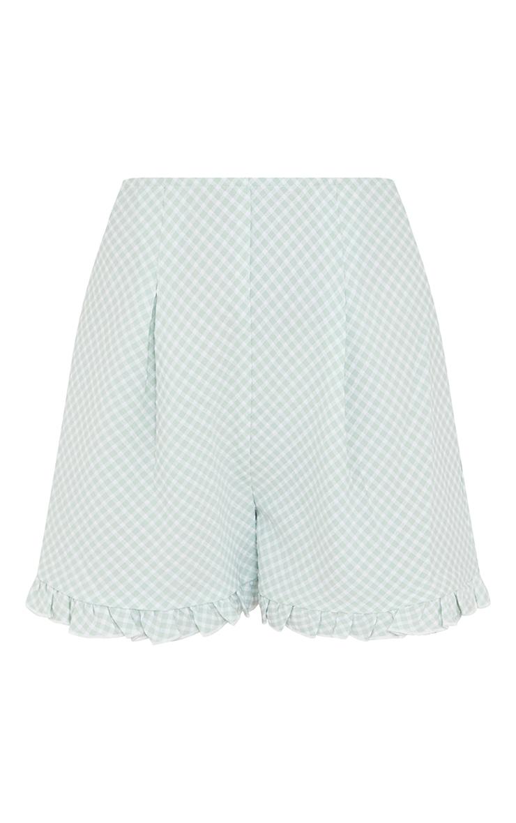 Petite Green Gingham Ruffle Shorts 6