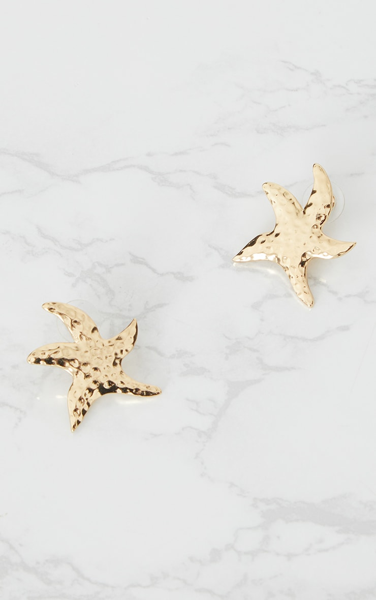 Gold Star Fish Stud Earrings 3