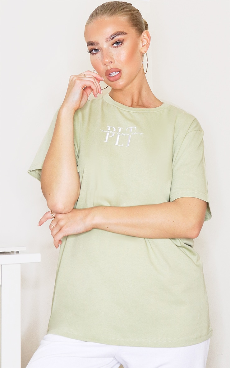 prettylittlethingsage khaki embroidered t shirt