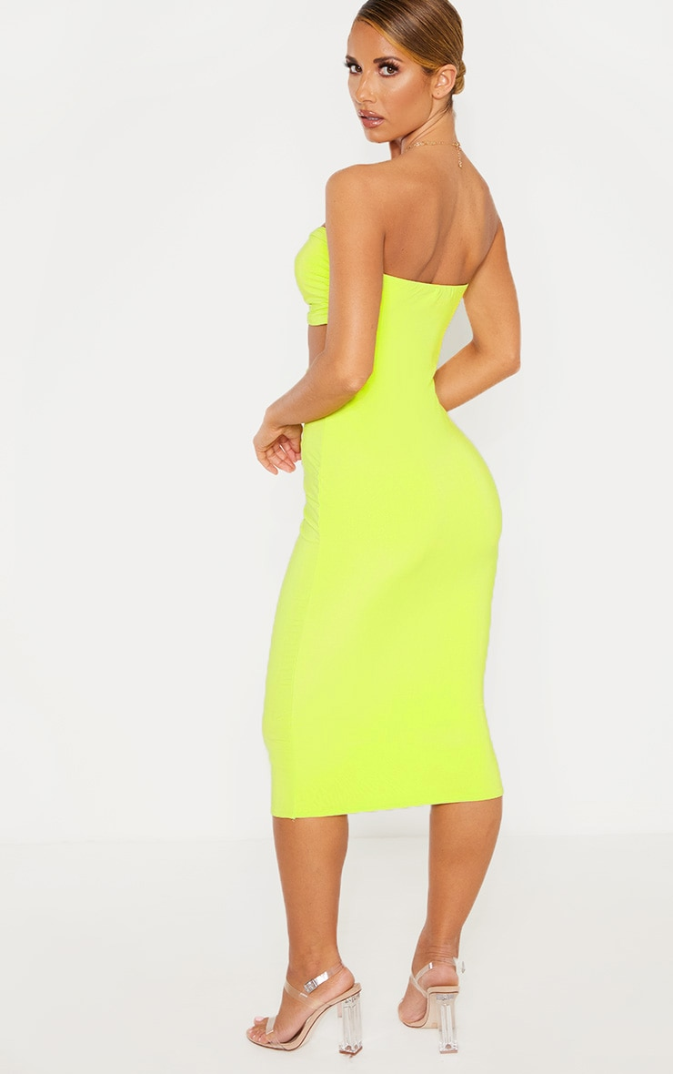 Lime Slinky Bust Detail Cut Out Midi Dress 2