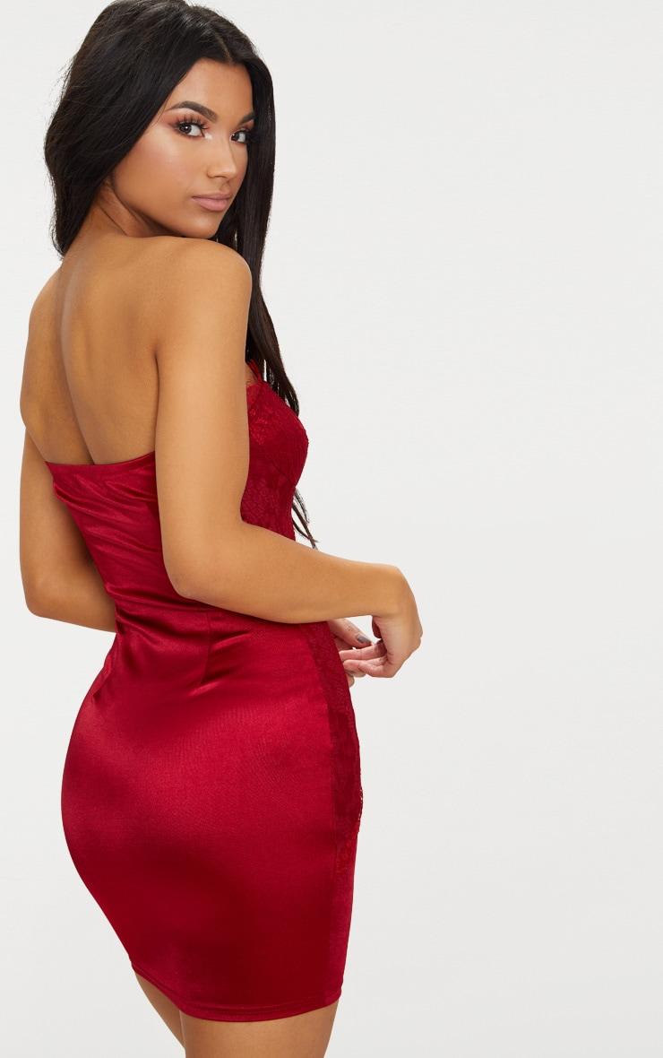 Dark Red Lace Panel Satin Bandeau Bodycon Dress 2