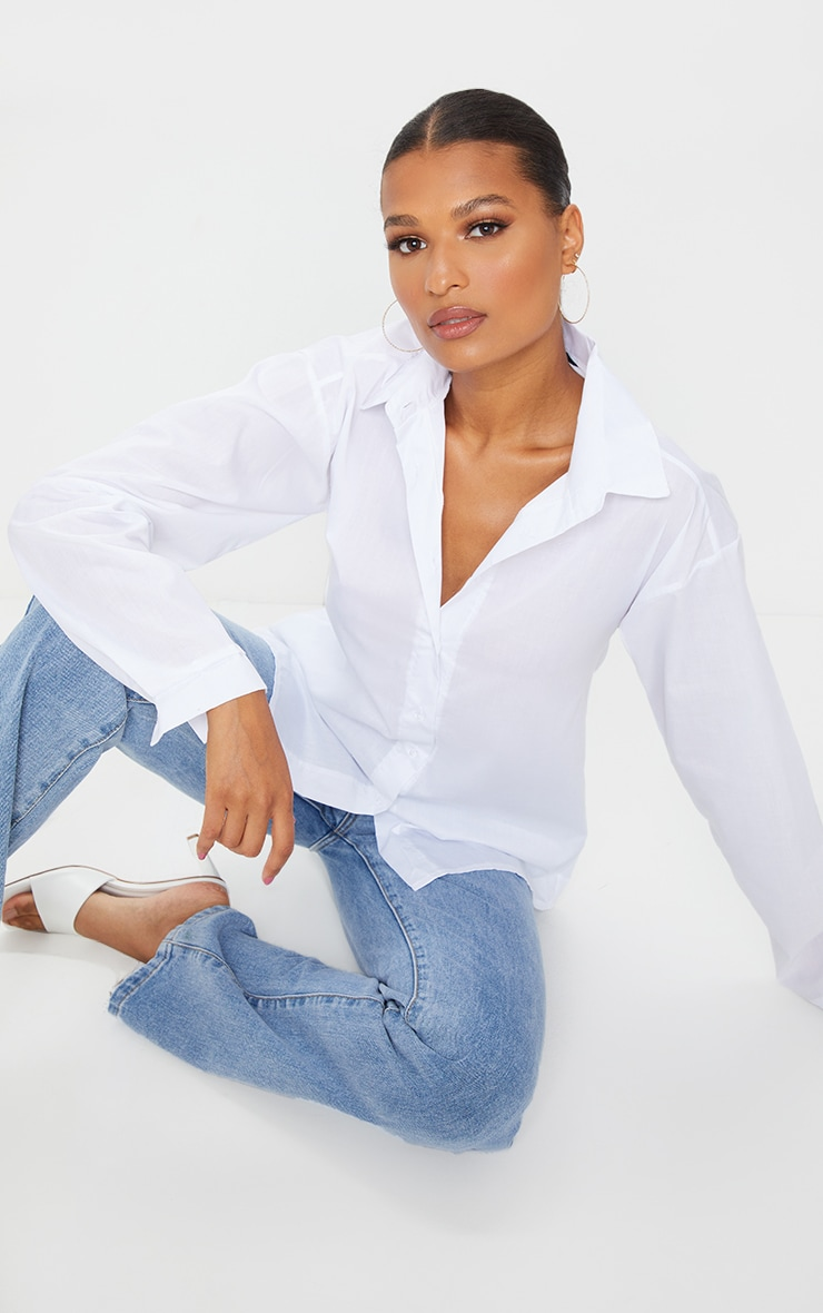 White Cotton Oversized Shirt  1