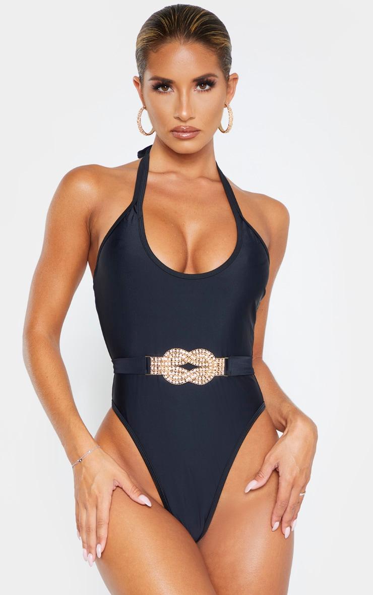 Black Diamante Twist Trim Belted Swimsuit 1