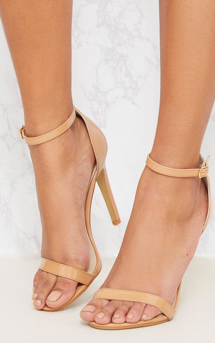 Nude Patent Leather Stilettos Ankle Strap Peep Toes Strap